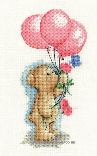 Toffee With Balloons Cross Stitch Kit